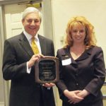 2011 Shirley Hendrick Award recipient JeanMarie Jacob and Penn State President Graham Spanier