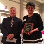 Shirley Hendrick Award recipient Daad Rizk with Penn State President Eric Baron