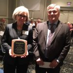 2017 Shirley Hendrick Award recipient Avis Kunz with Penn State President Eric Barron